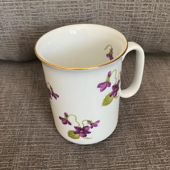 Vtg Bavaria fine China mug with purple florals